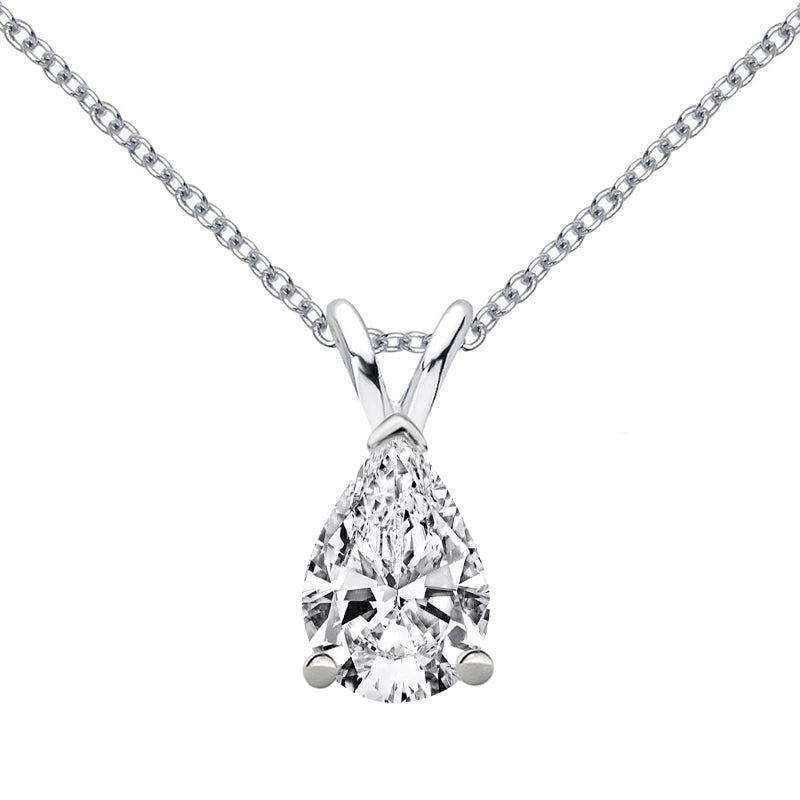Sterling Silver Pear Cut Moissanite Pendant Necklace