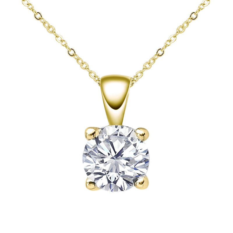 Sterling Silver Round Moissanite Pendant Necklace