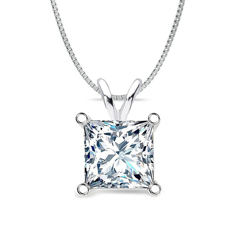 Sterling silver Princess Cut Created White Diamond Pendant Necklace