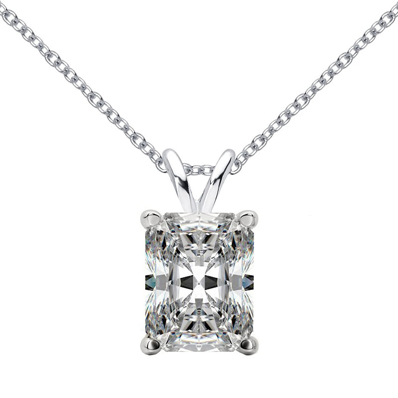 Sterling silver 9x11mm Radiant Cut Created Diamond Solitaire Pendant Necklace