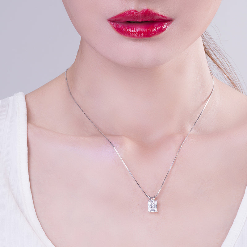 Sterling Silver Radiant Cut Created White Diamond Pendant Necklace