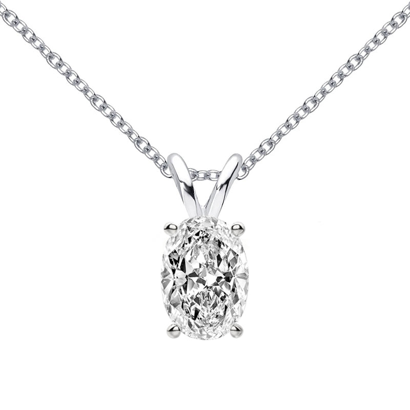 Classic Oval Cut Moissanite (D-E Color, H Clarity) Pendant Necklace