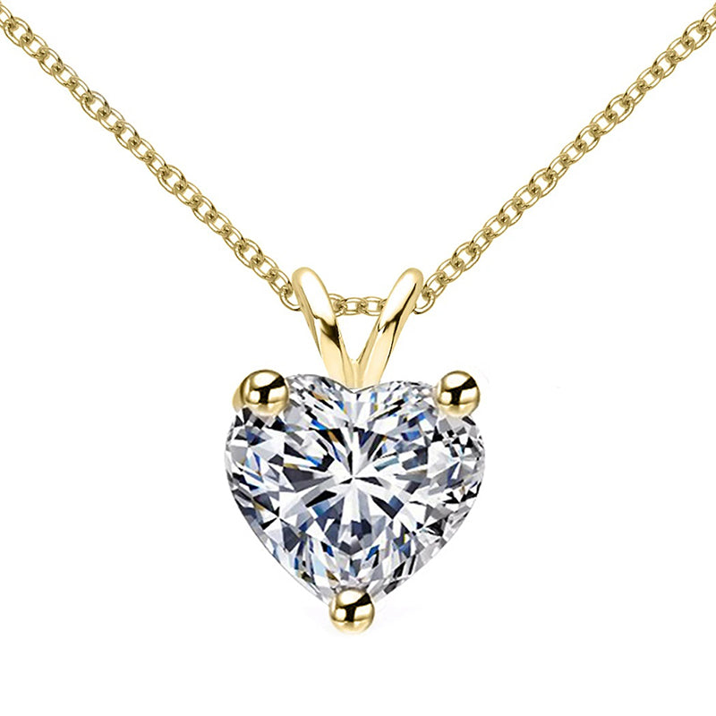 Sterling silver Heart Cut Created White Diamond Pendant Necklace