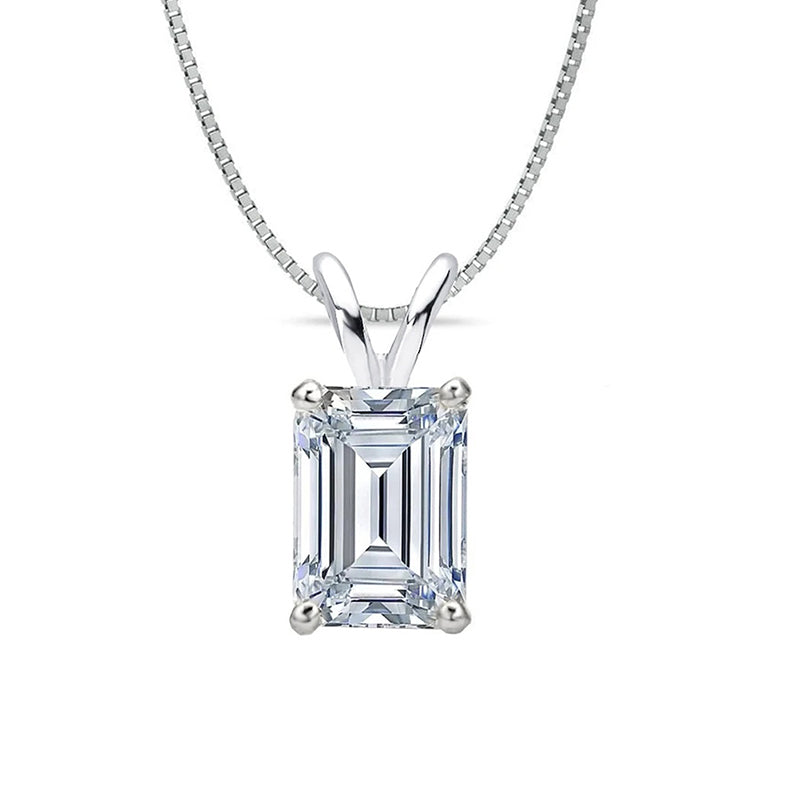 Sterling silver emerald cut created white diamond pendant necklace
