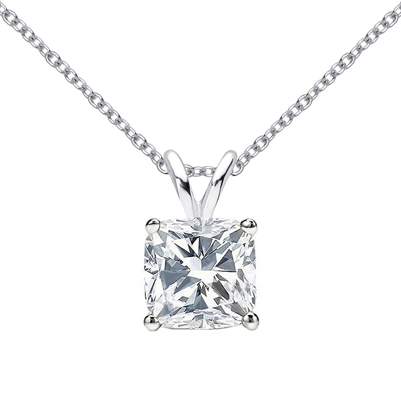 Sterling silver cushion cut created white diamond pendant necklace