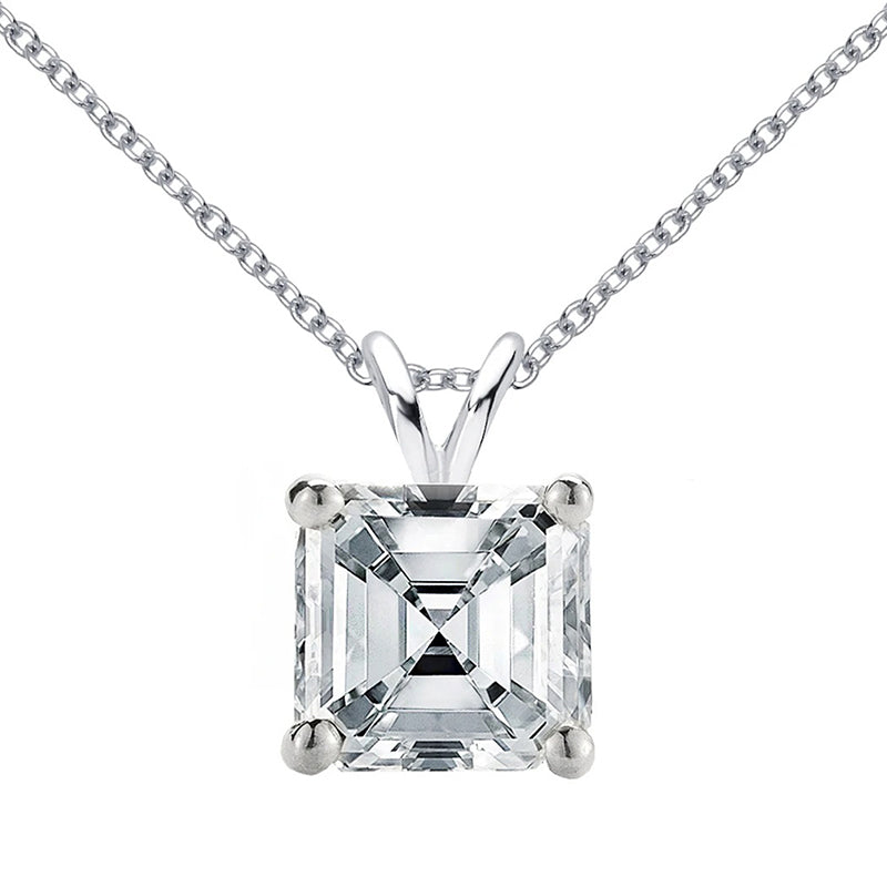 Sterling Silver Asscher Cut Created White Diamond Pendant Necklace