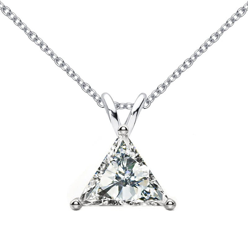 1.0CT Trillion Cut Created White Diamond Pendant Necklace
