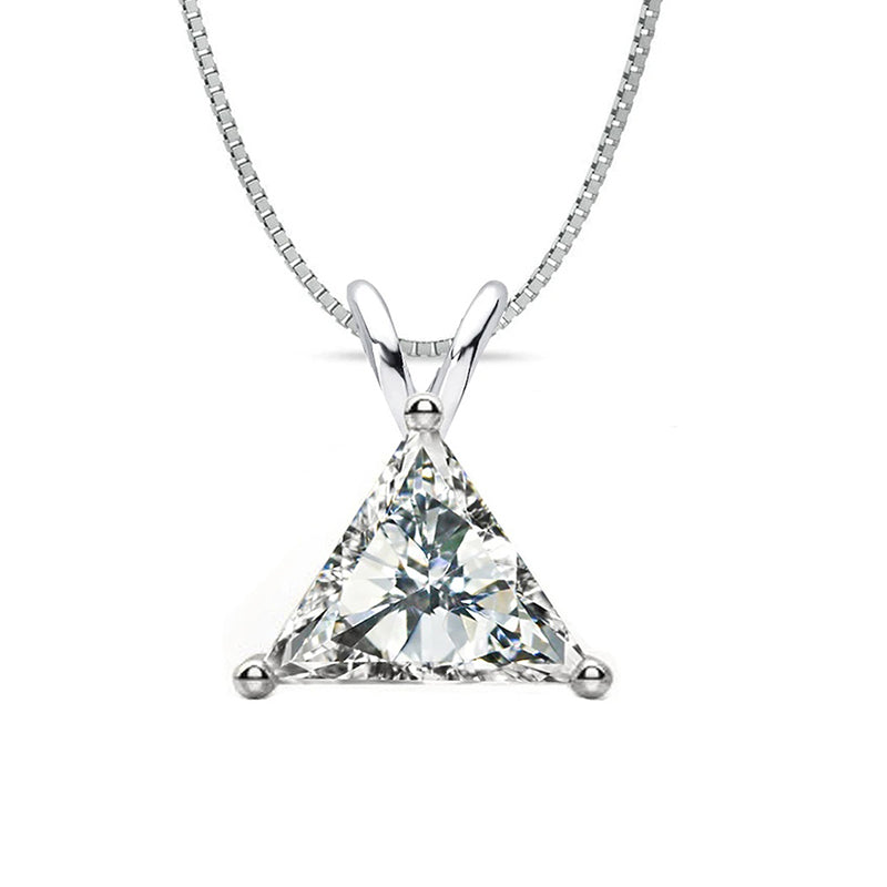Sterling silver trillion cut created white diamond pendant necklace