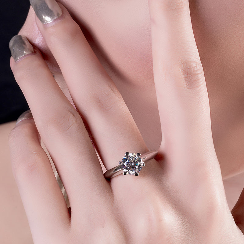Classic Six Prong Round Created White Diamond Solitaire Ring