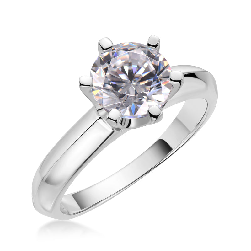 Classic Six Prong Round Moissanite Diamond Solitaire Ring