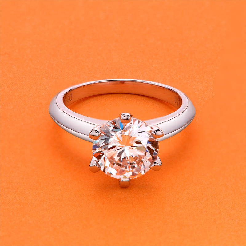 1.0ct/1.5ct/2.0ct/3.0ct Six Prong Round Cut Created Diamond Solitaire Ring