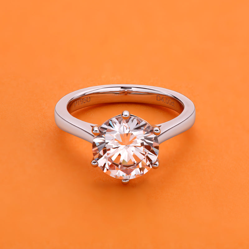 Luxury 4CT Round Cut Moissanite Diamond Solitaire Ring