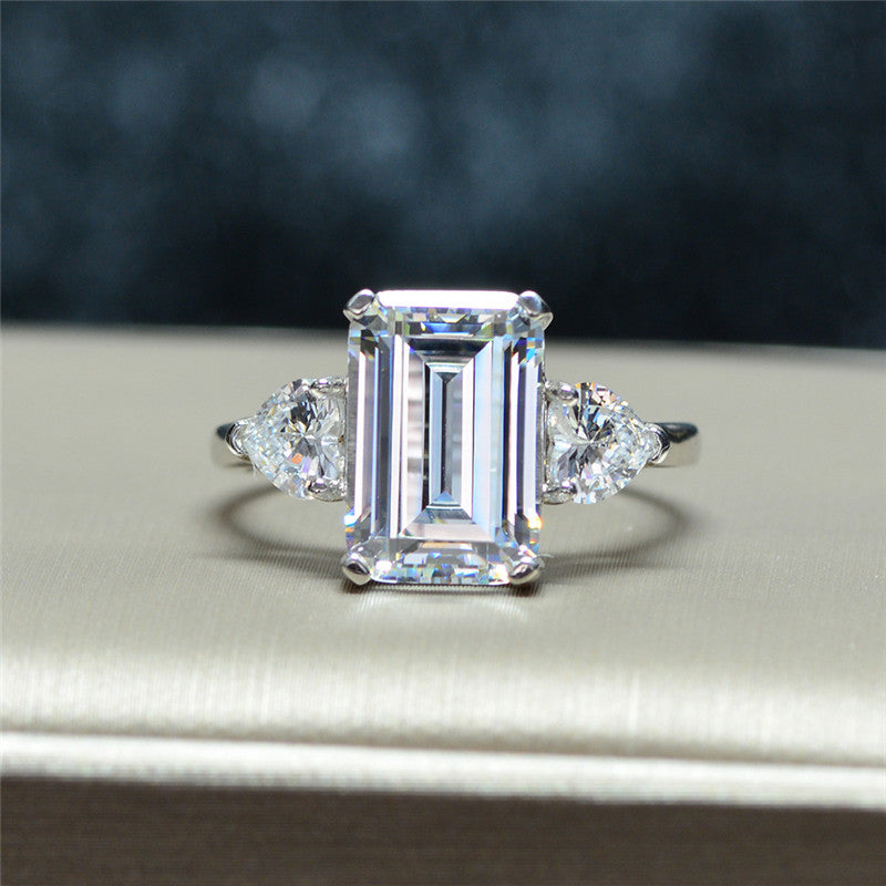 Emerald Cut Created Diamond Sterling Silver 3-Stone Ring
