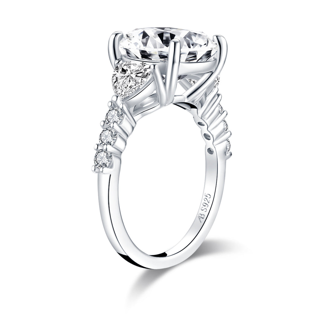 Cushion Created White Diamond Three Stone Ring