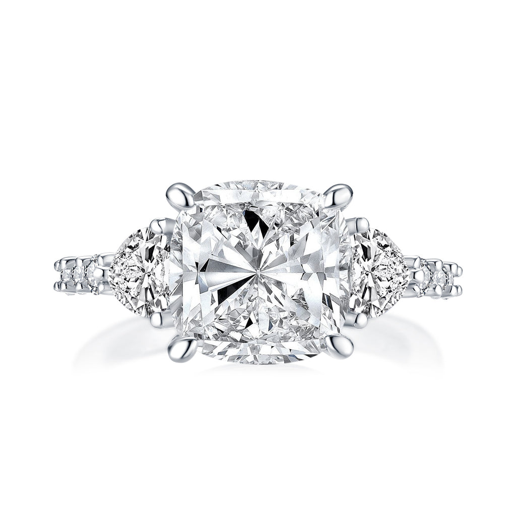 Cushion Created White Diamond 3-Stone Ring