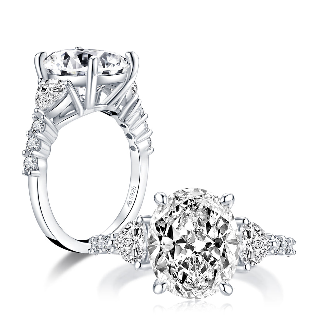 Oval Created White Diamond 3-Stone Ring