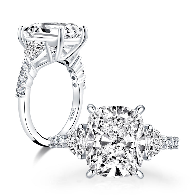 Cushion created diamond 3-stone ring