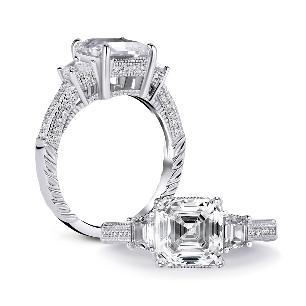 Asscher Cut Created White Diamond 3-Stone Ring
