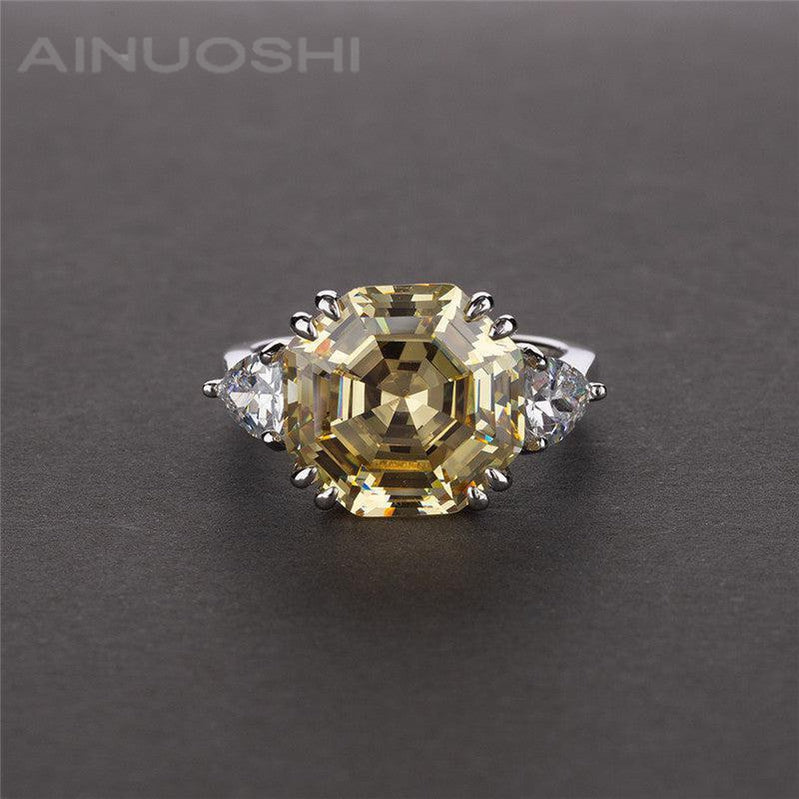 Octagon Cut Created Diamond Three Stone Ring