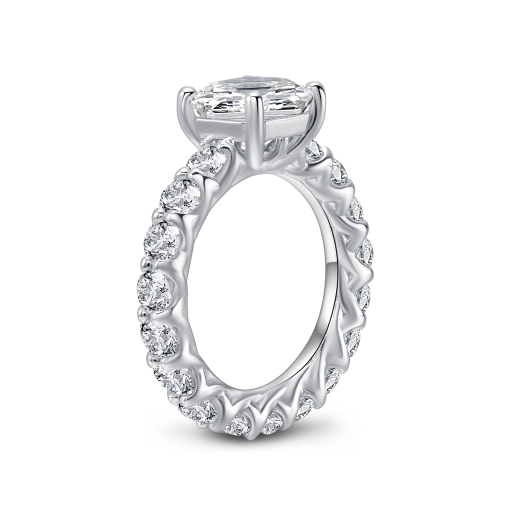 Eternity Asscher Created White Diamond Ring