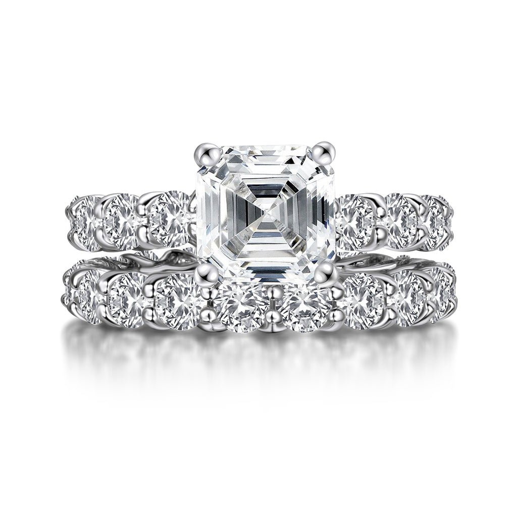 Asscher Created White Diamond Eternity Ring Bridal Set