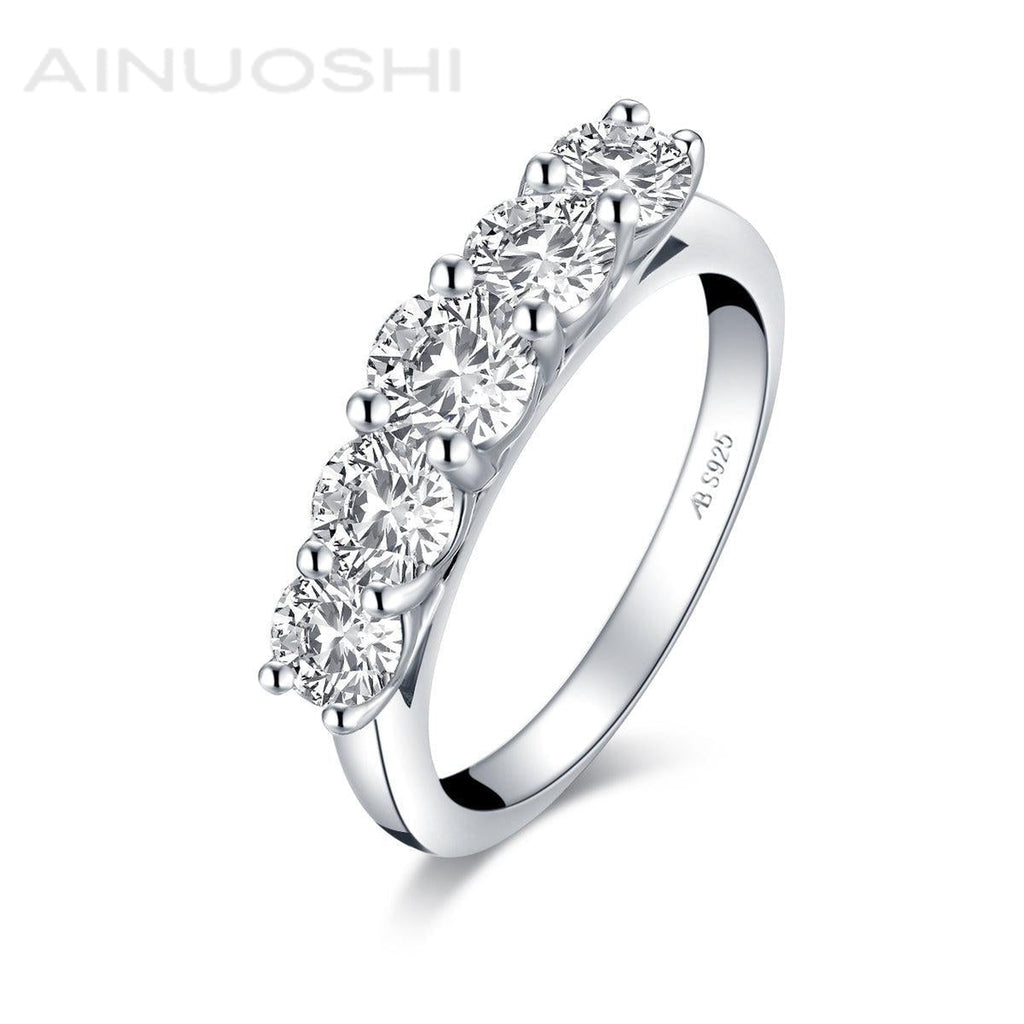 5-Stone Round Created White Diamond Ring