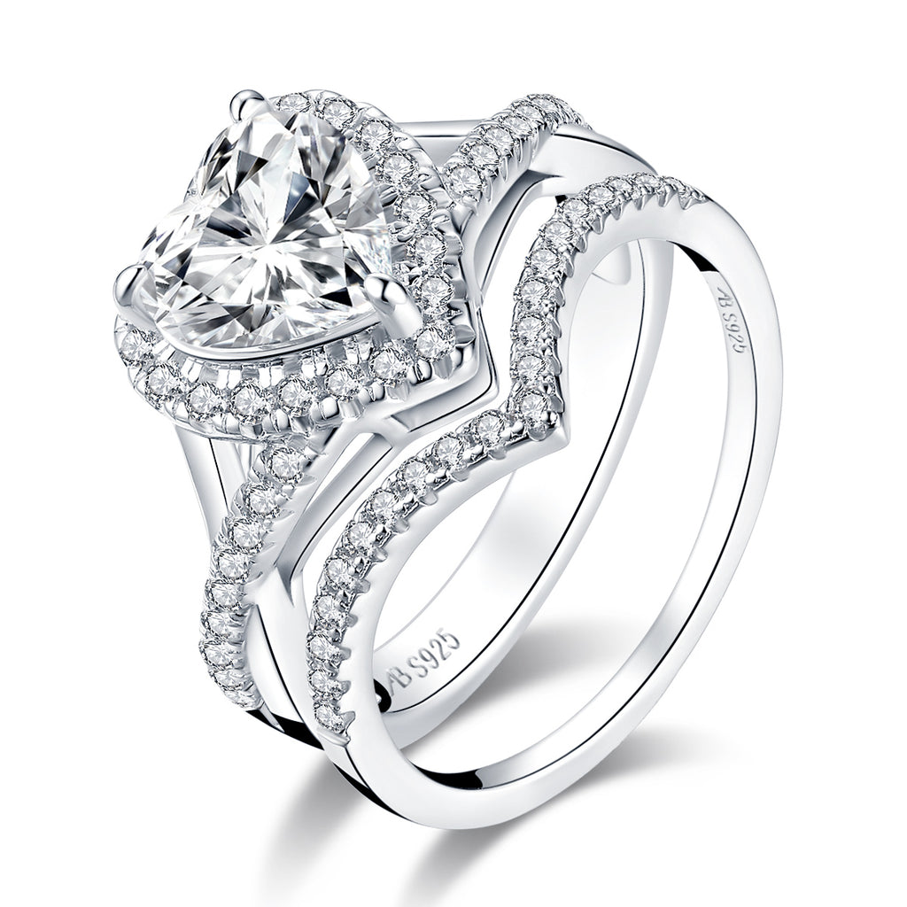 Love Heart Shaped Bridal Ring Set