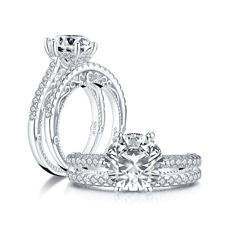 Round created diamond bridal ring sets