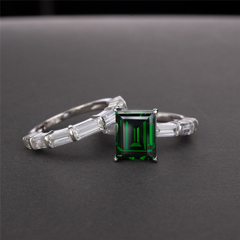 Emerald Cut Created Diamond Bridal Ring Set