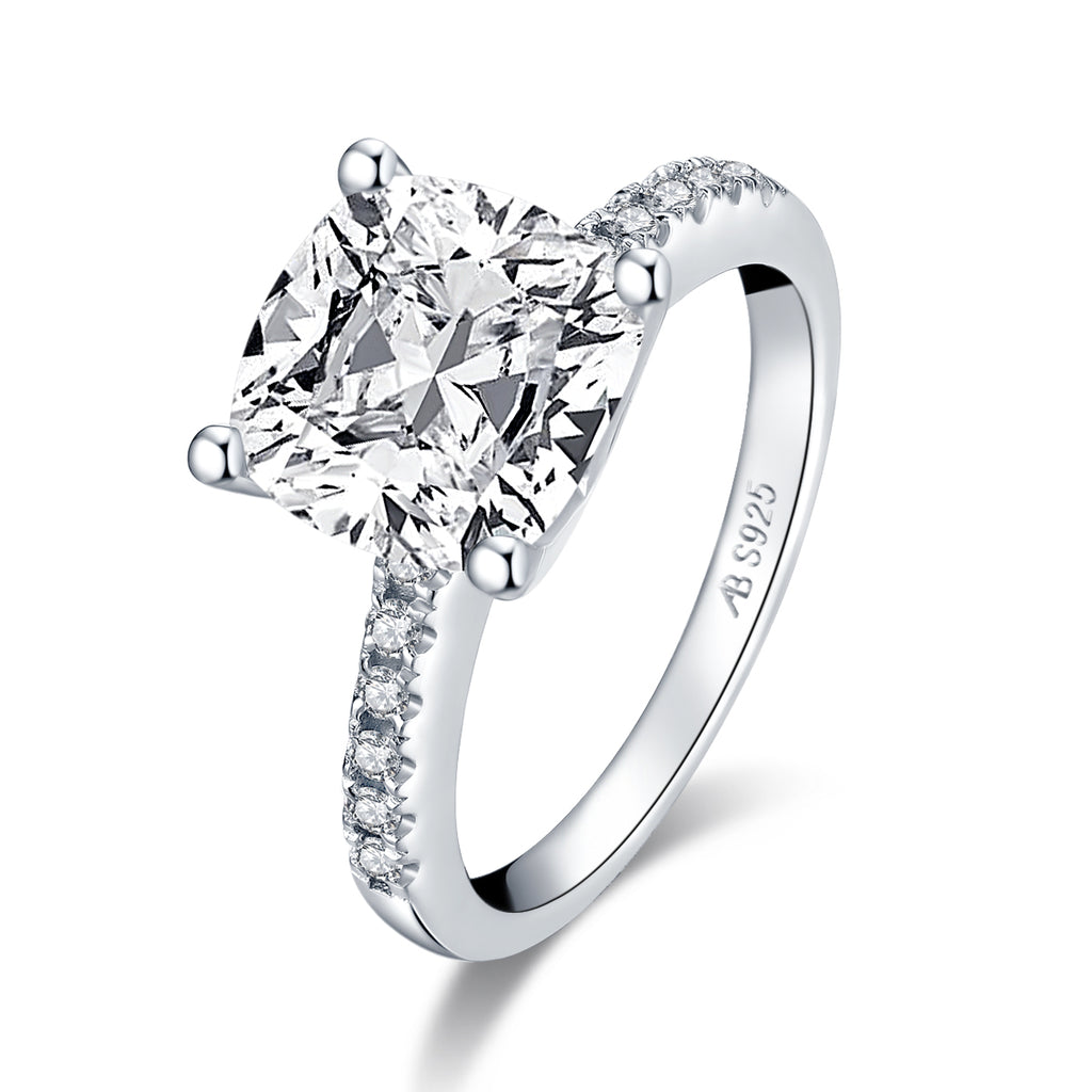 Cushion Cut Created Diamond Engagement Ring