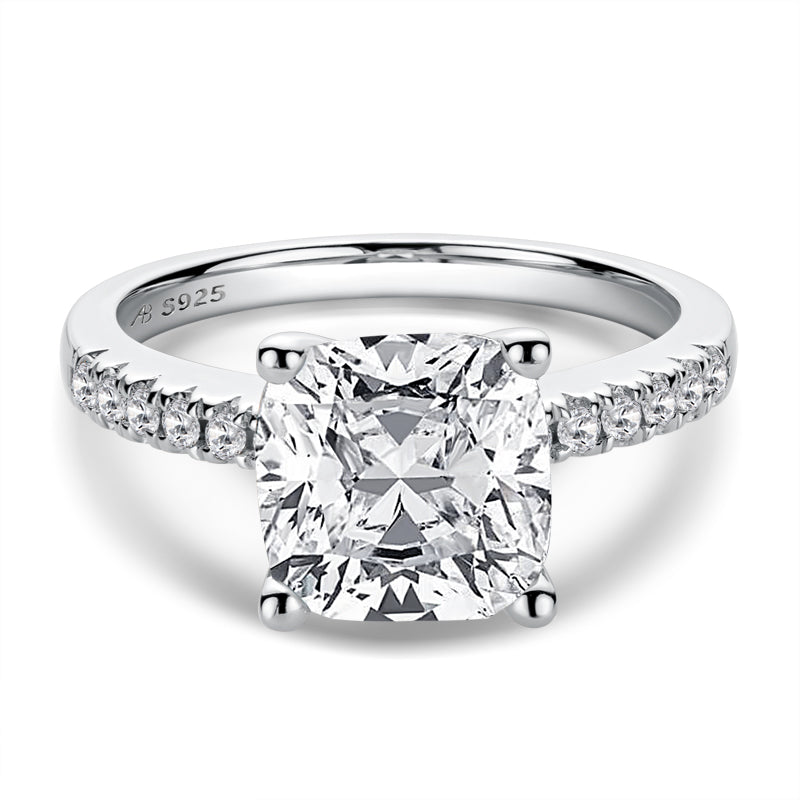 Luxury 3.5CT Cushion Cut Moissanite Diamond Engagement Ring