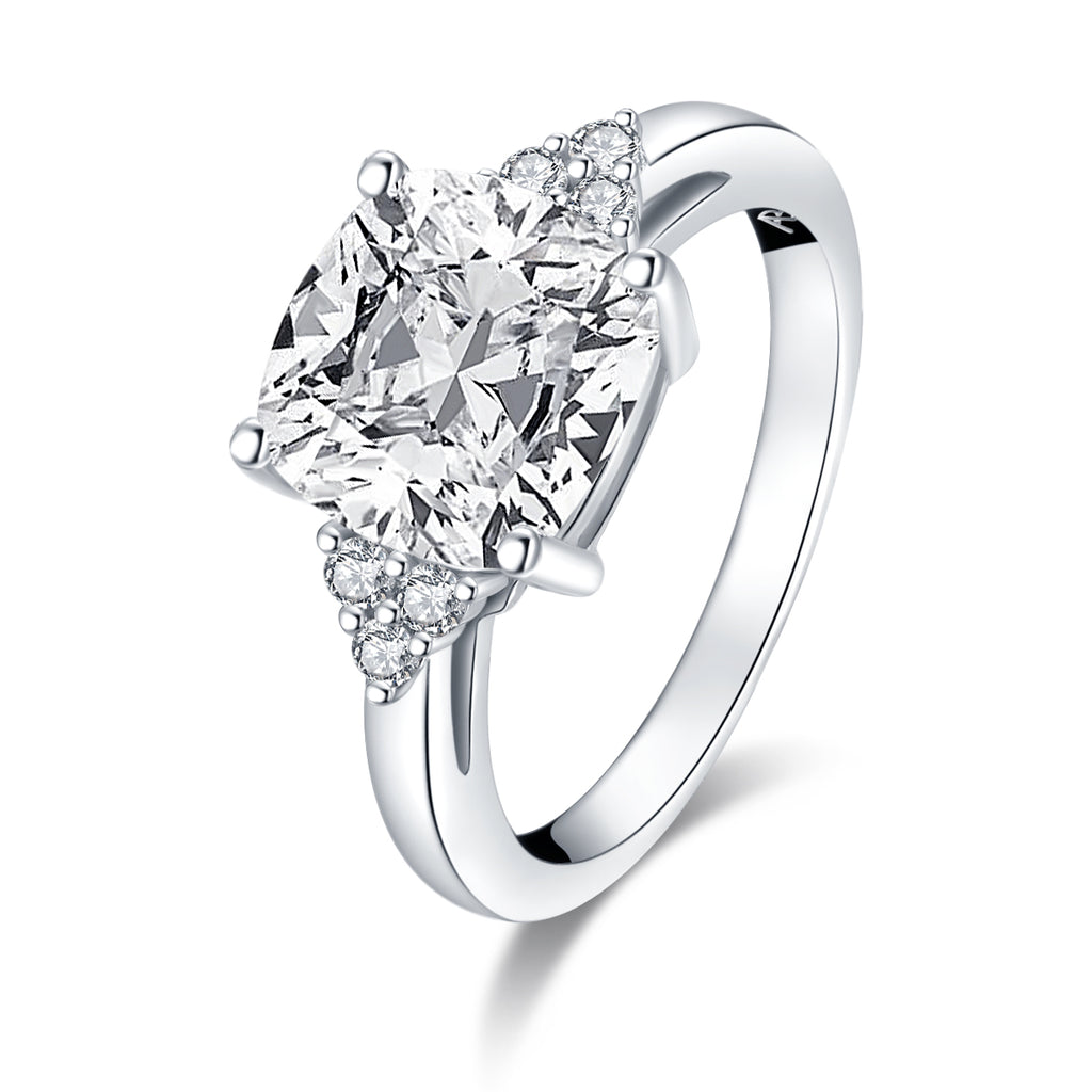 Cushion White Created Diamond Ring