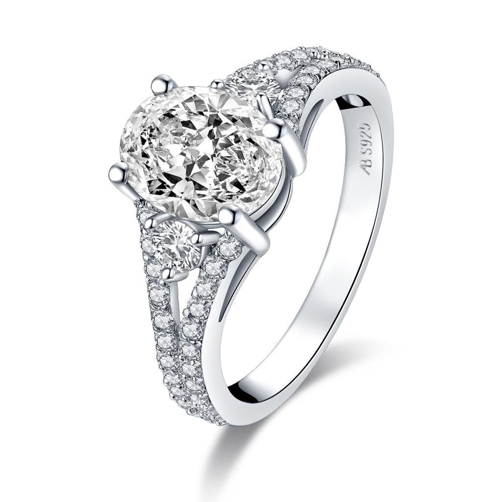Vintage Oval Cut Created Diamond Ring