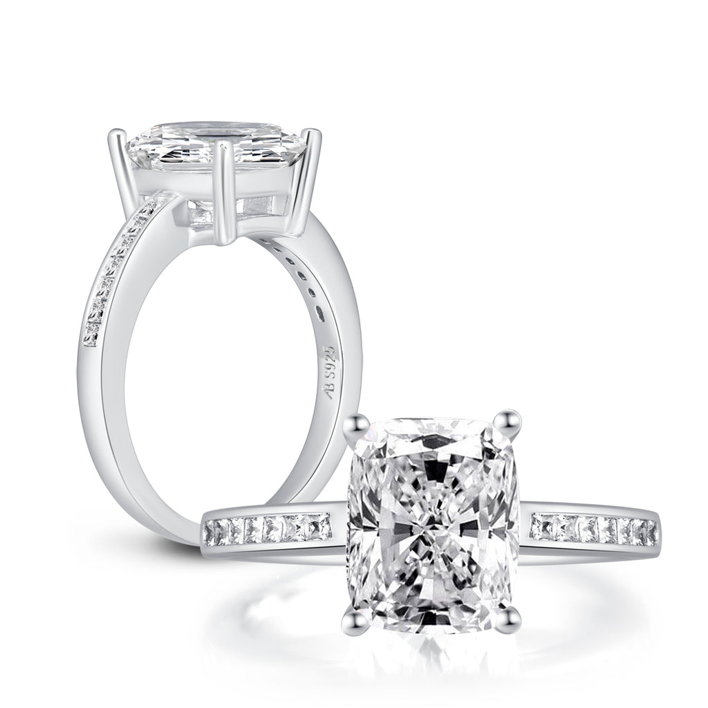 Brilliant Radiant Cushion Created Diamond Ring