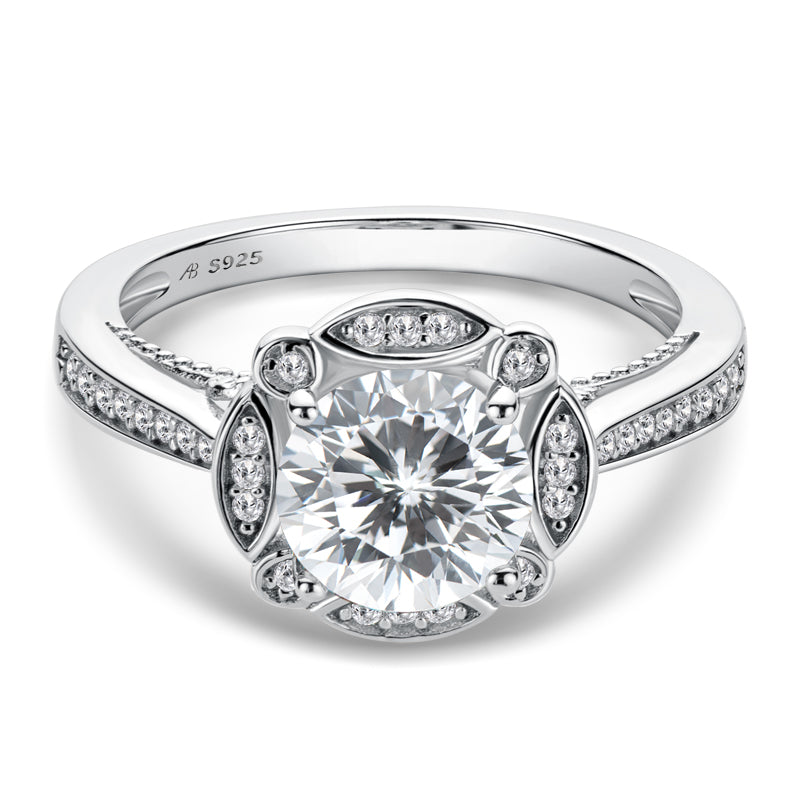 Vintage Round Created Diamond Halo Ring