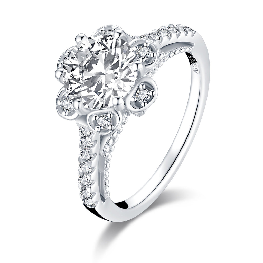 Flower Shaped Round Created White Diamond Ring