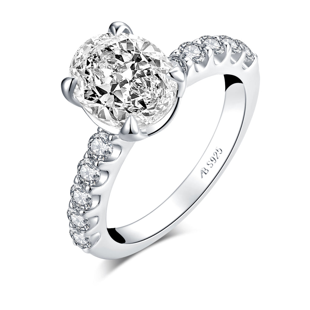 Vintage 3ct Oval Created Diamond Ring