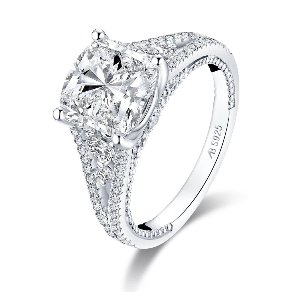 Vintage Cushion Cut Created Diamond Ring