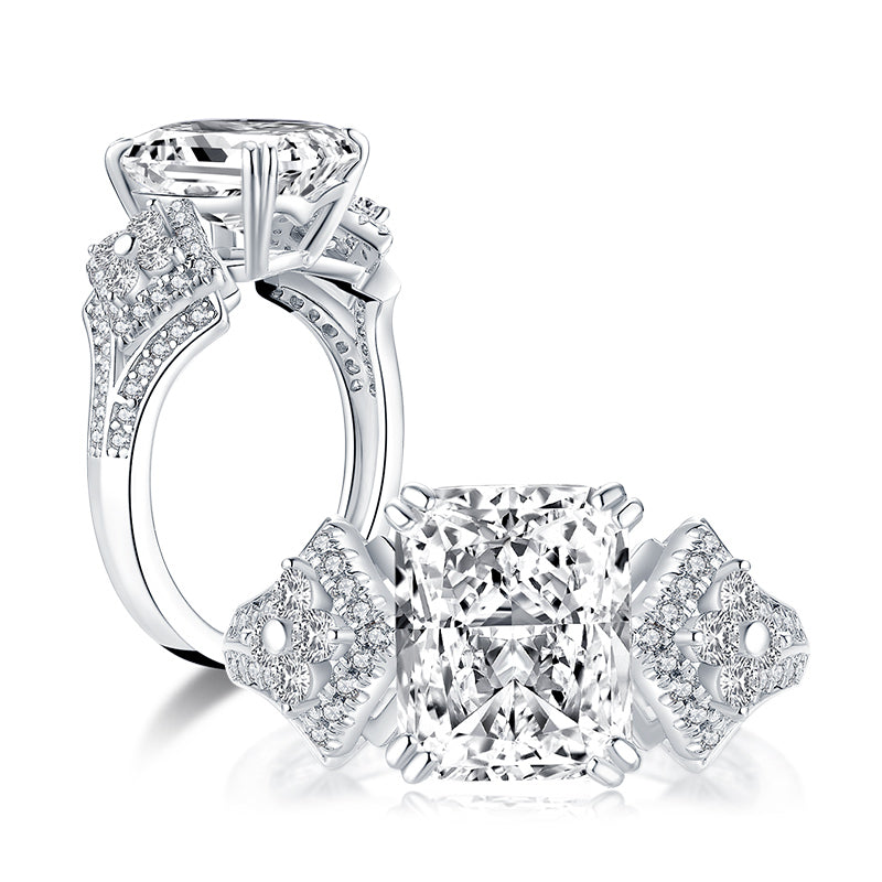 Vintage Radiant Created Diamond Women Ring