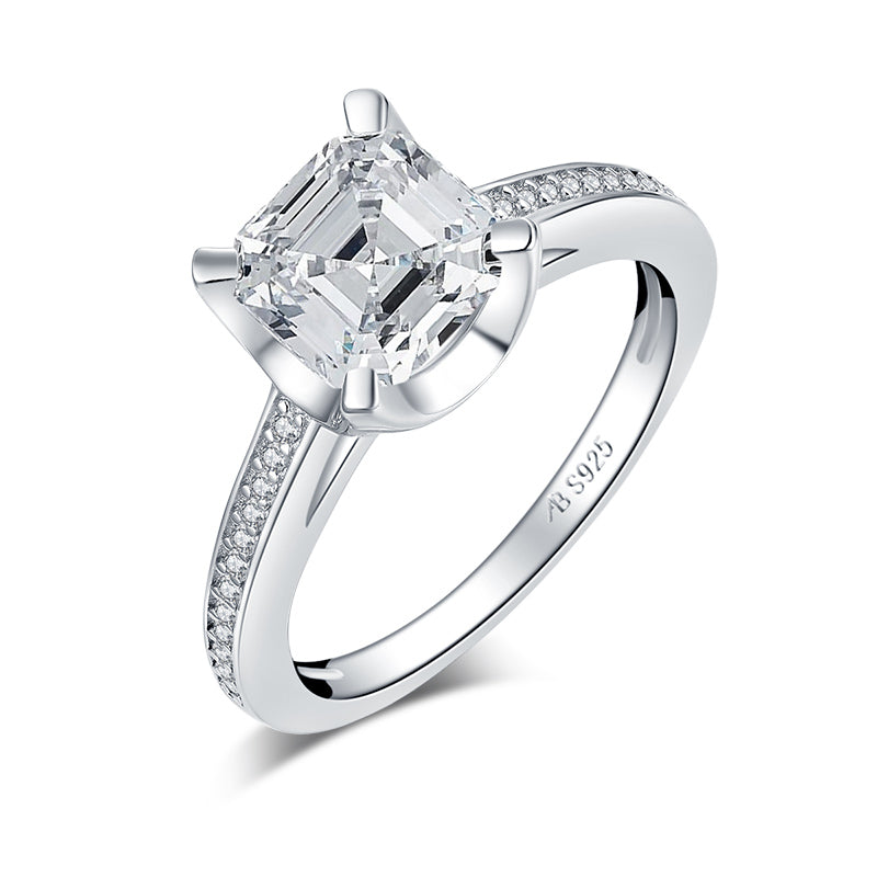Asscher created white diamond ring