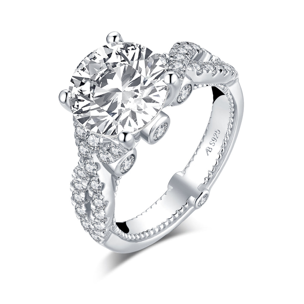 Twisted Round Created White Diamond Ring