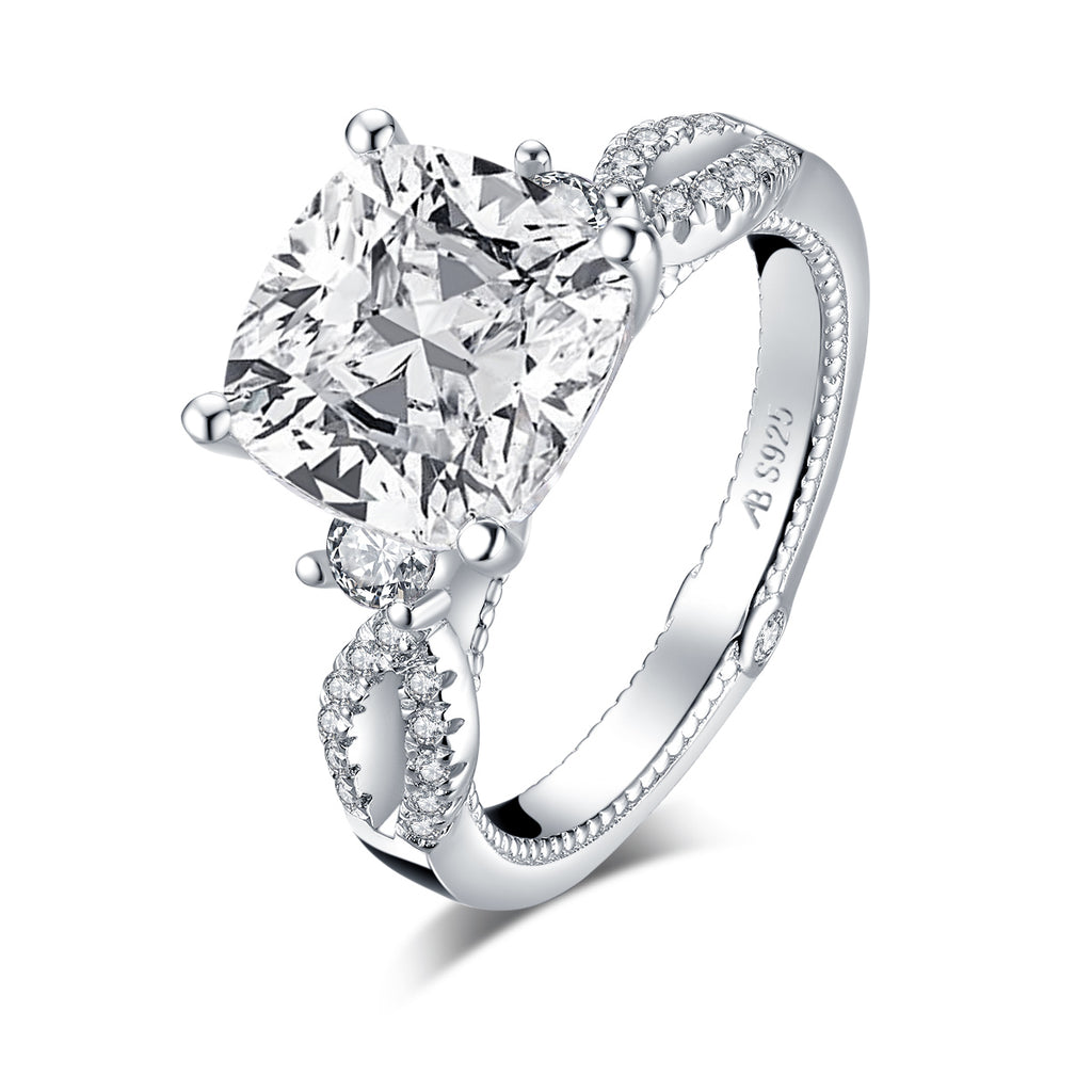 Vintage Cushion White Created Diamond Ring