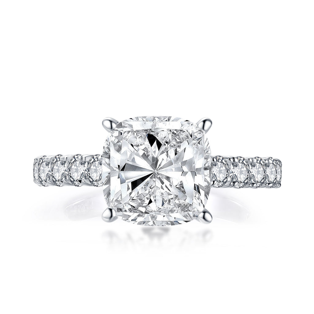 4 CT Cushion Shaped Created Diamond Ring