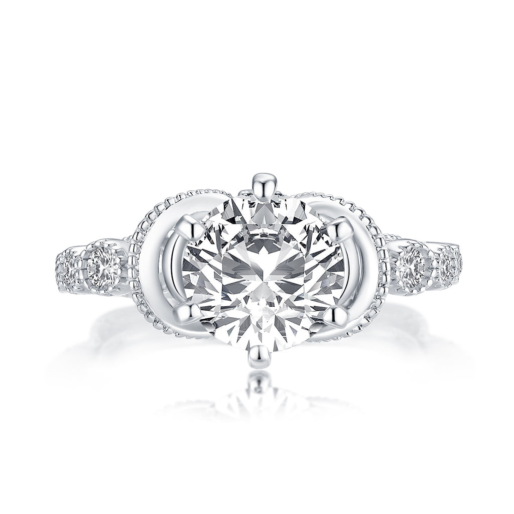 Vintage Queen Round Created Diamond Ring