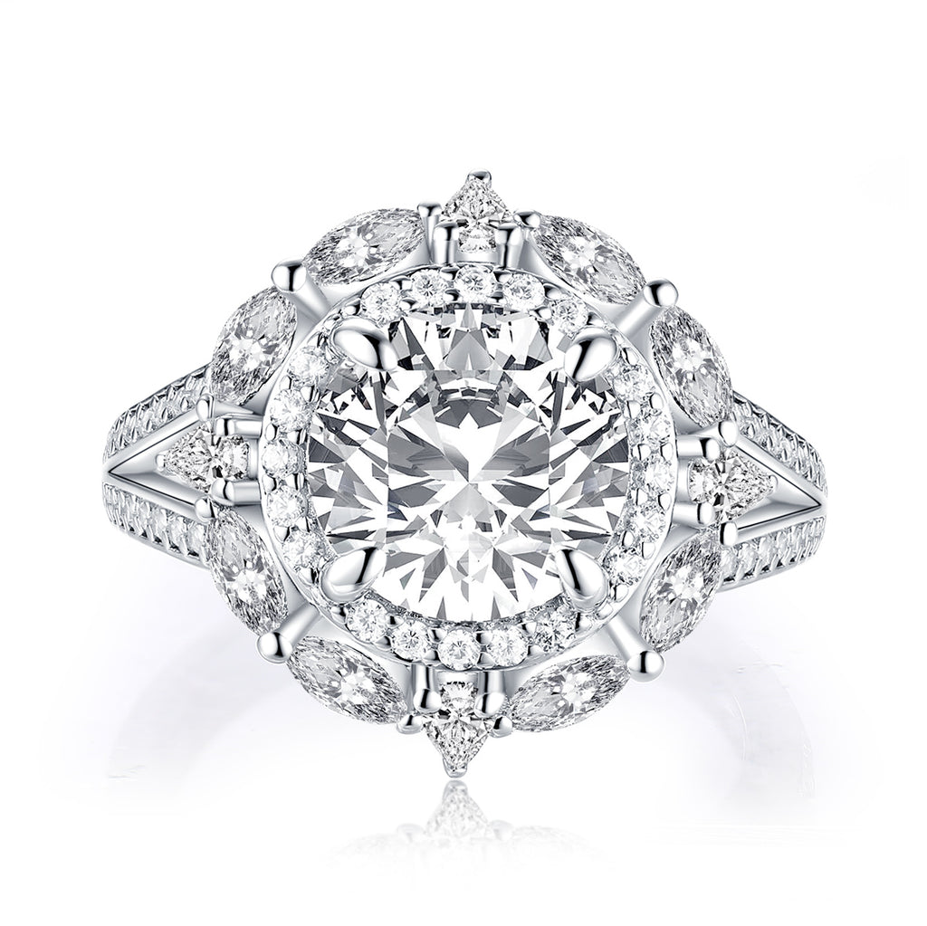 Vintage Halo Round Created White Diamond Ring