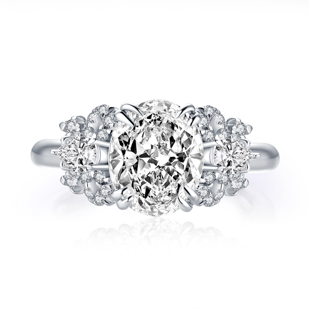 Oval Cut Created White Diamond Ring