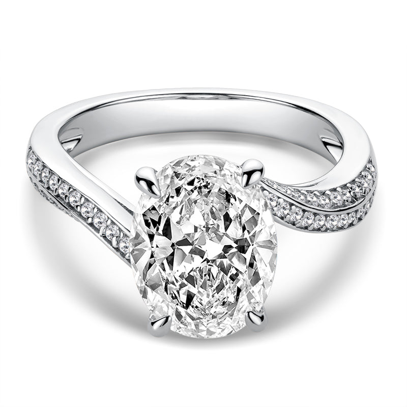 Oval Cut Moissanite Diamond Twisted Ring