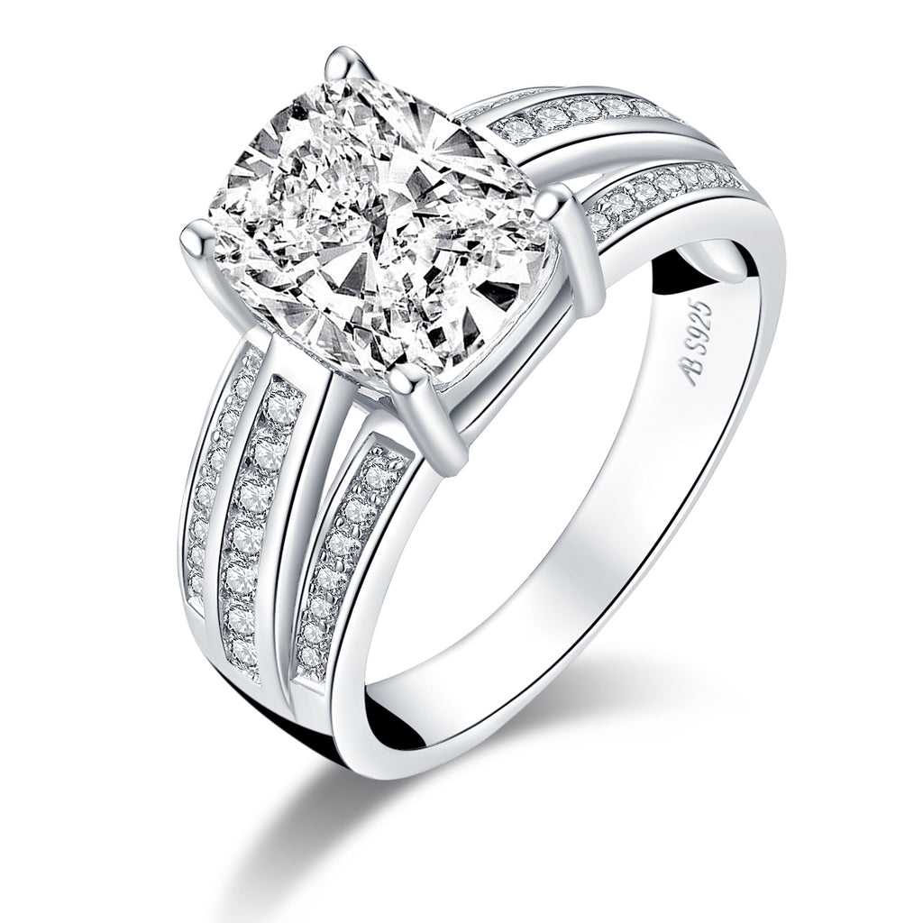 Cushion Created White Diamond Ring