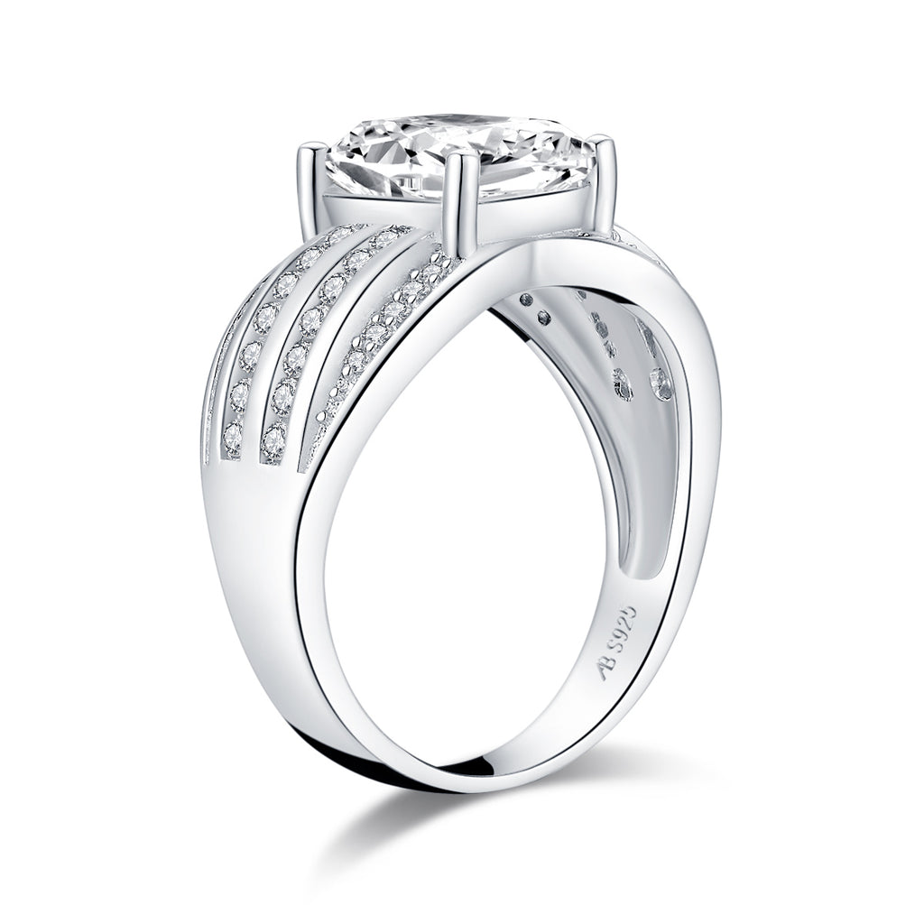 Luxury Cushion Created White Diamond Ring