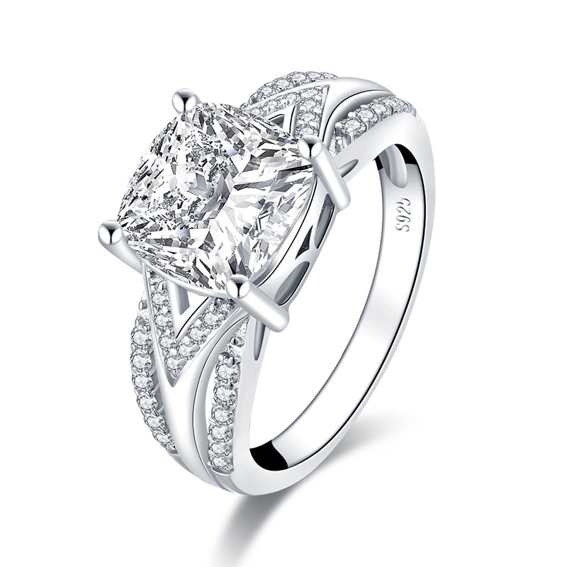 Cushion Created White Diamond Women Ring